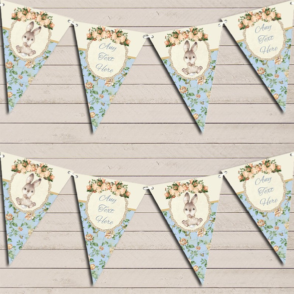 Bunny Baby Rabbit Shabby Chic Floral Blue Boys Personalised Baby Shower Bunting