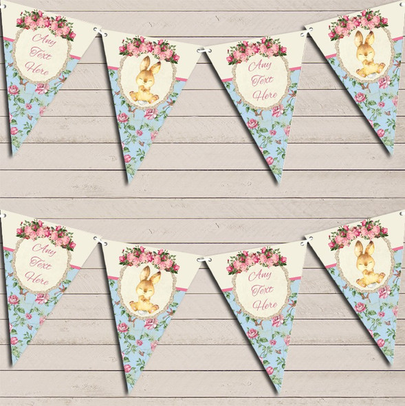 Bunny Baby Rabbit Shabby Chic Floral Pink Girls Personalised Baby Shower Bunting