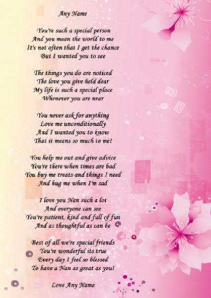 Pink Flowers Nan Poem Award Personalised Certificate