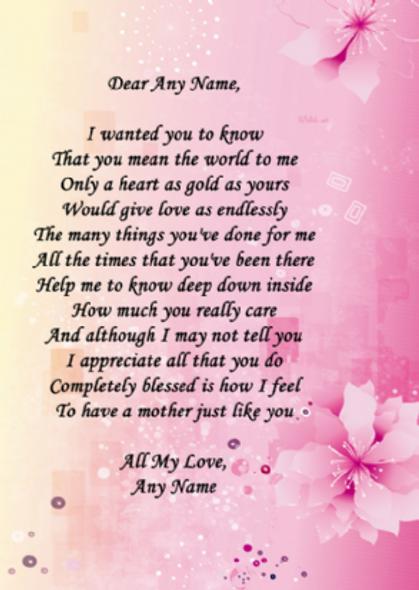 Pink Mum Poem Award Personalised Certificate
