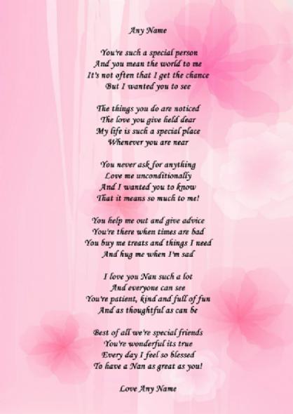 Pink Nan Poem Award Personalised Certificate