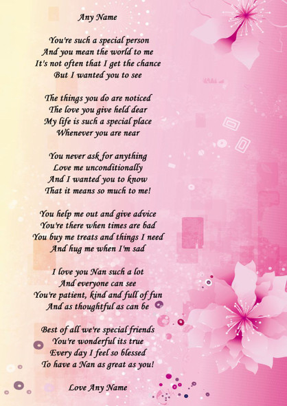 Pink Yellow Nan Personalised Poem Certificate