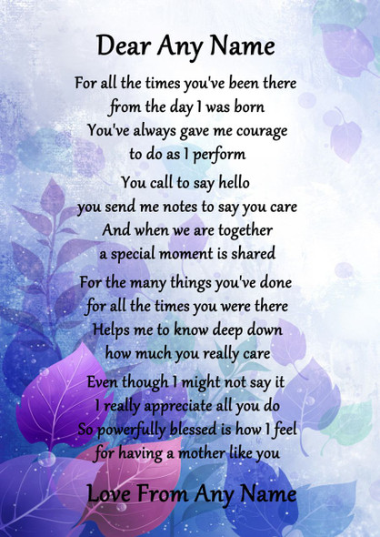 Purple A Mother Like You Personalised Poem Certificate
