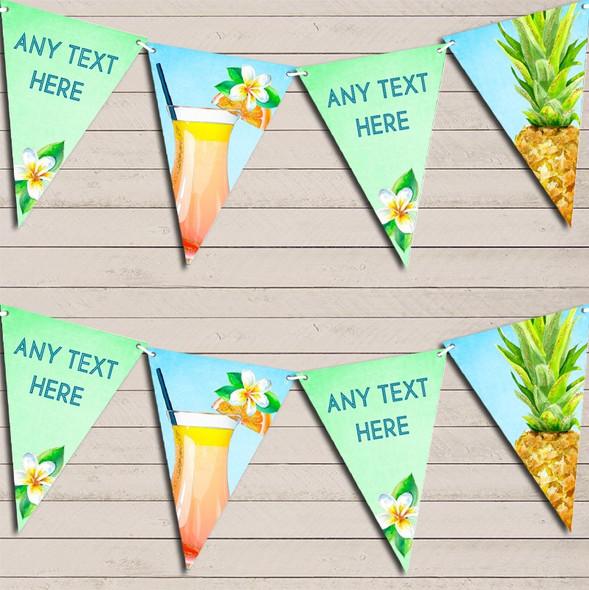 Luau Paradise Hawaiian Beach Pineapple Personalised Hen Do Party Bunting