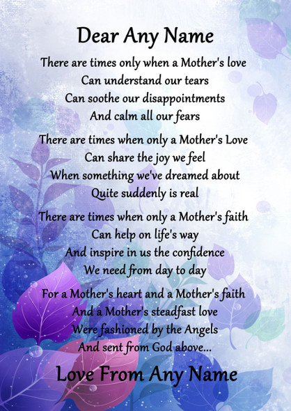 Purple A Mothers Faith Personalised Poem Certificate