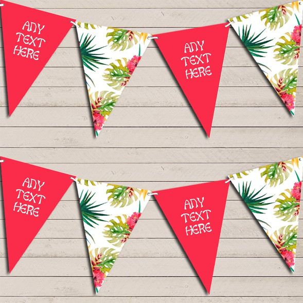 Tropical Floral Hawaiian Beach Lei Luau Red Pink Hen Do Party Bunting