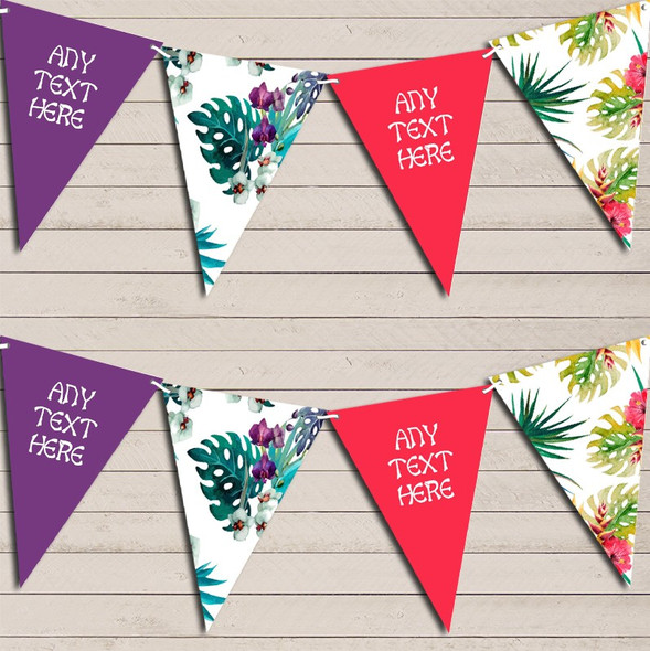 Tropical Floral Hawaiian Beach Lei Luau Personalised Hen Do Party Bunting