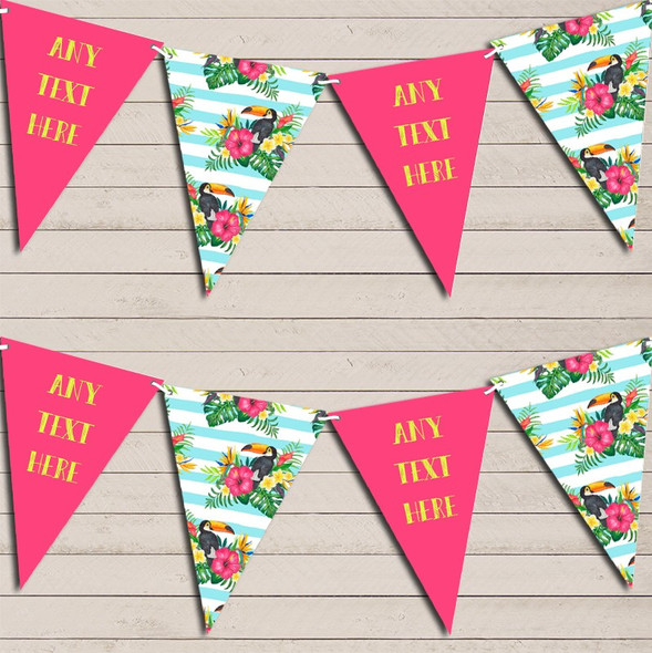 Tropical Floral Hawaiian Beach Party Luau Blue Personalised Hen Do Party Bunting