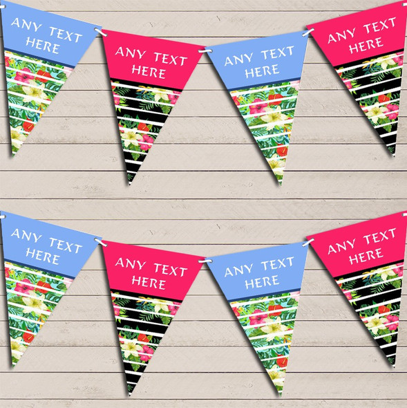 Tropical Floral Hawaiian Beach Party Luau Lei Personalised Hen Do Party Bunting