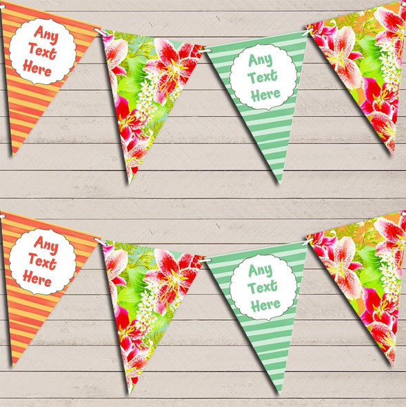 Tropical Hawaiian Beach Luau Lei Floral Personalised Hen Do Party Bunting