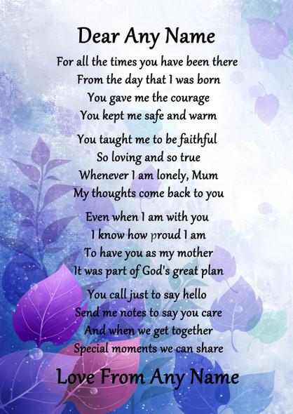 Purple Caring Mother Personalised Poem Certificate
