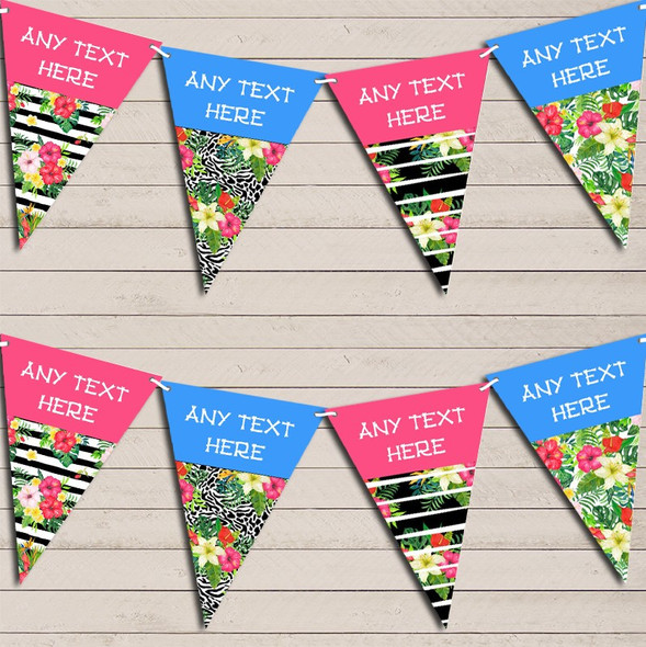 Tropical Paradise Hawaiian Beach Party Pink Blue Hen Do Party Bunting