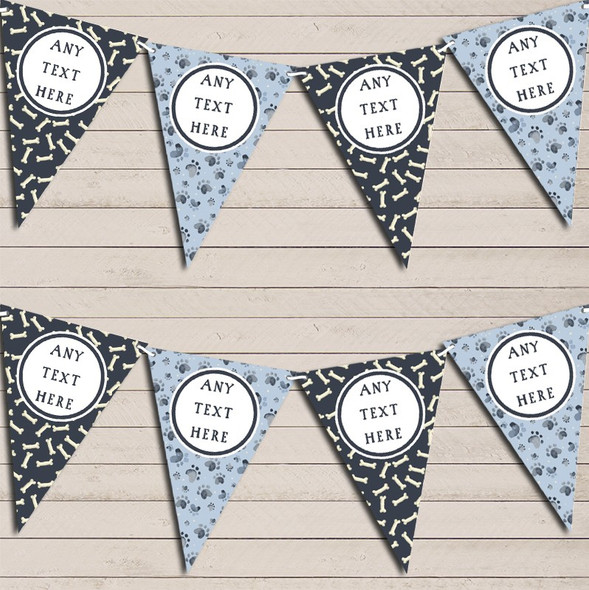 Dog Paws And Bones Blue Personalised Children's Birthday Bunting