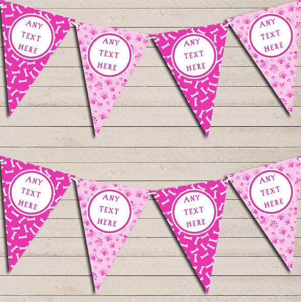 Dog Paws And Bones Pink Personalised Children's Birthday Bunting