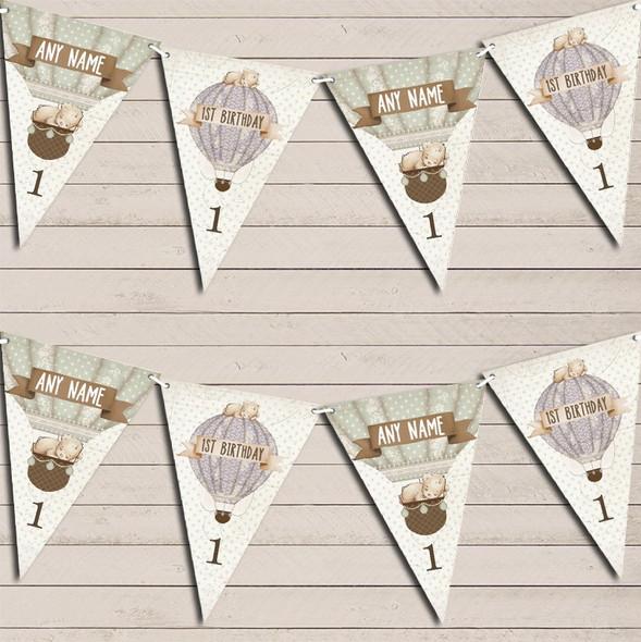 Hot Air Balloon Teddy Bear Vintage Birthday Any Age Children's Birthday Bunting