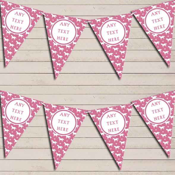 Pink Horses Pony Personalised Children's Birthday Bunting