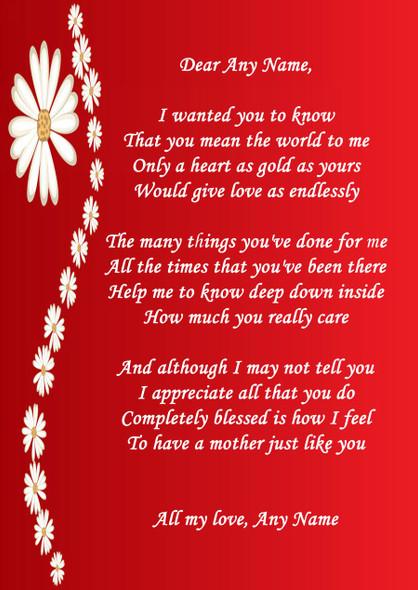 Red Mum Personalised Poem Certificate