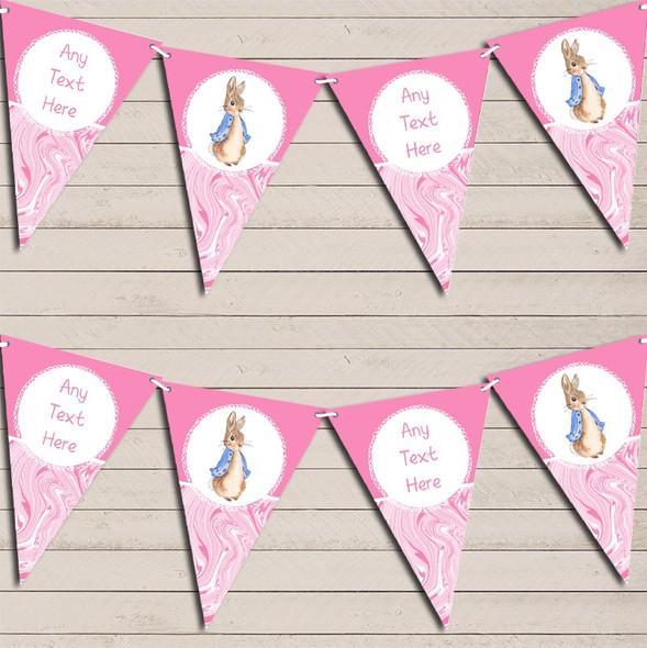 Baby Pink Peter Rabbit Marble Personalised Children's Birthday Bunting