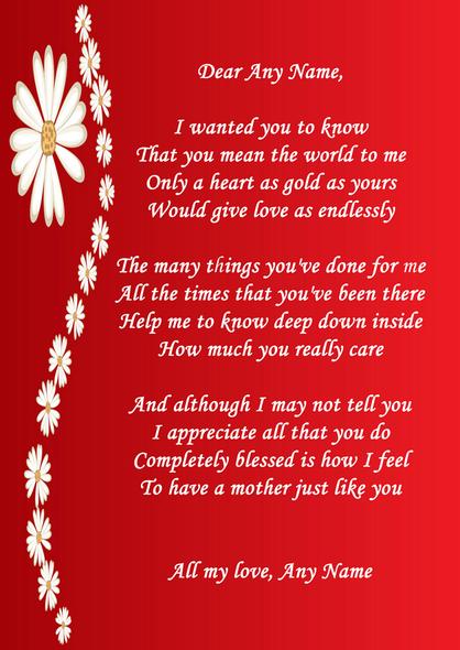 Red Mum Poem Award Personalised Certificate