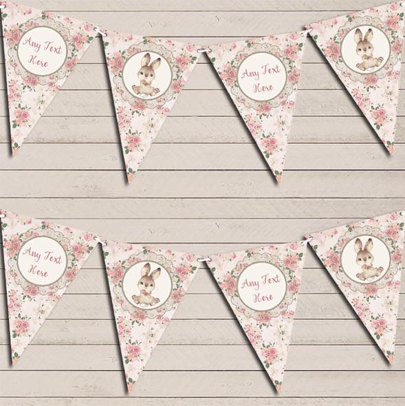 Bunny Baby Rabbit Girls Pink Personalised Children's Birthday Bunting