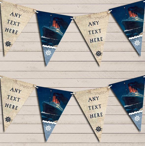 Vintage Nautical Map Sea Ship Titanic Personalised Party Bunting