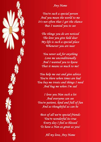 Red Nan Poem Award Personalised Certificate