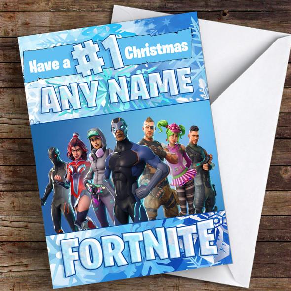 Fortnite Battle Pass Blue Boys Personalised Children's Christmas Card