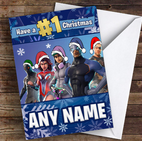 Fortnite Game Battlepass Skins Personalised Children's Christmas Card