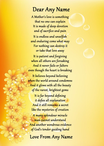 Yellow Floral A Mothers Endless Love Personalised Poem Certificate
