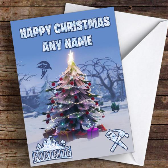 Fortnite Christmas Tree Personalised Children's Christmas Card