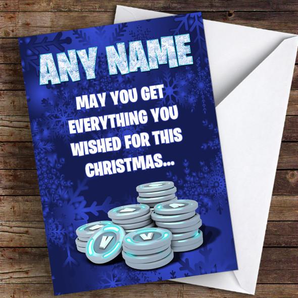 Fortnite Vbucks Funny Personalised Children's Christmas Card