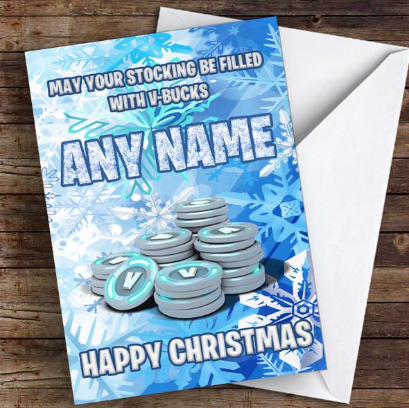 Funny Fortnite Vbucks Personalised Children's Christmas Card