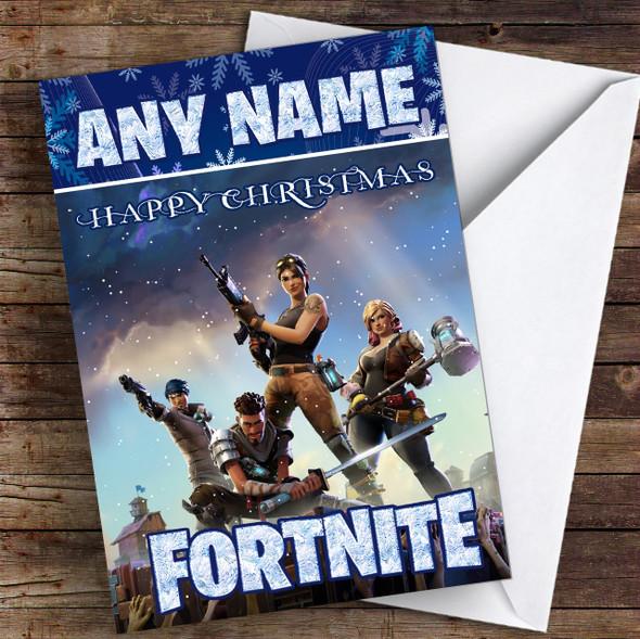 Fortnite Game Purple Personalised Children's Christmas Card