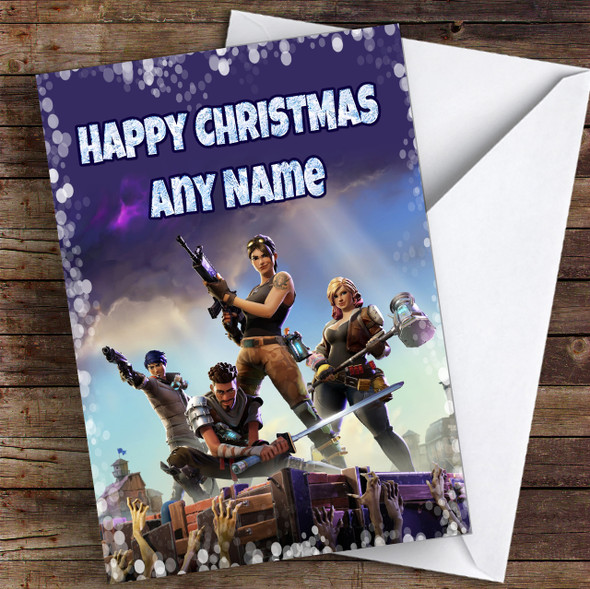 Purple Fortnite Game Personalised Children's Christmas Card