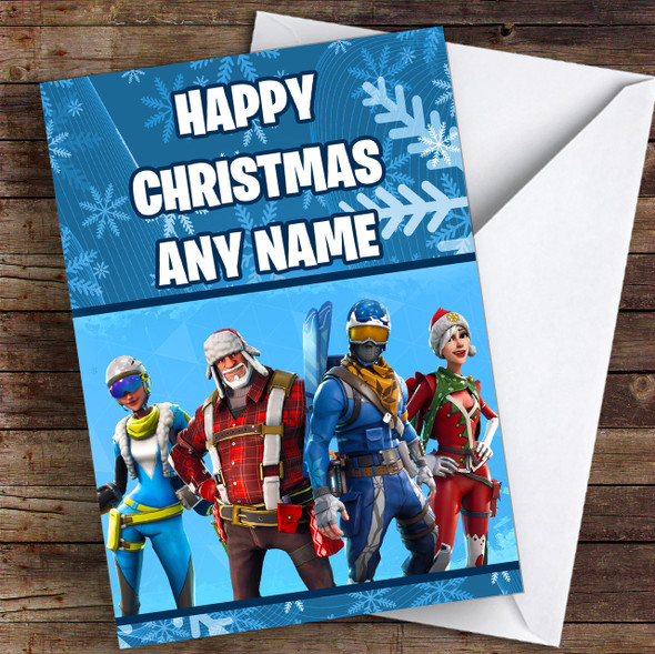 Blue Fortnite Game Personalised Children's Christmas Card