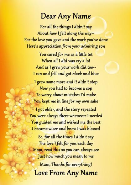 Yellow Floral Best Mum Award Personalised Poem Certificate