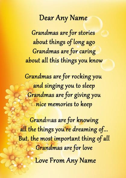 Yellow Floral Grandmas Are For Love Personalised Poem Certificate