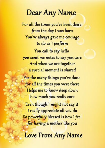 Yellow Floral Mother Like You Personalised Poem Certificate