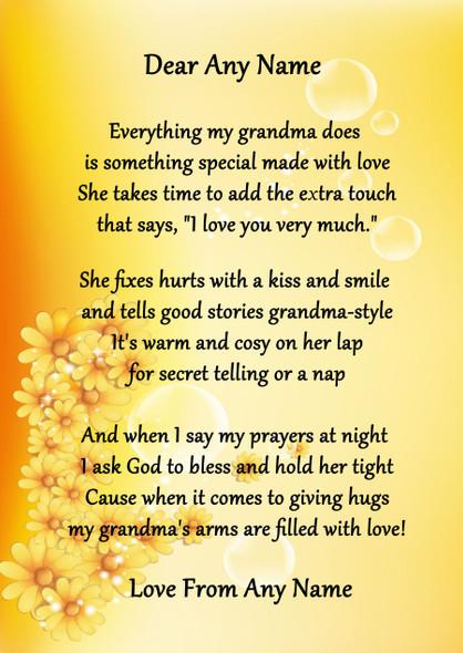 Yellow Floral My Grandma Personalised Poem Certificate