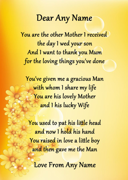 Yellow Floral My Husbands Mum Personalised Poem Certificate