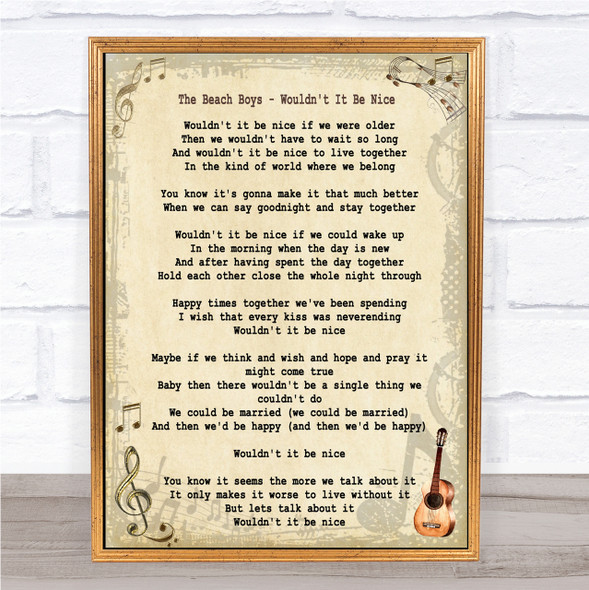 The Beach Boys Wouldn't It Be Nice Song Lyric Quote Print