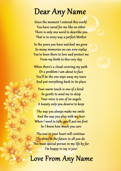 Yellow Floral Perfect Mother Personalised Poem Certificate