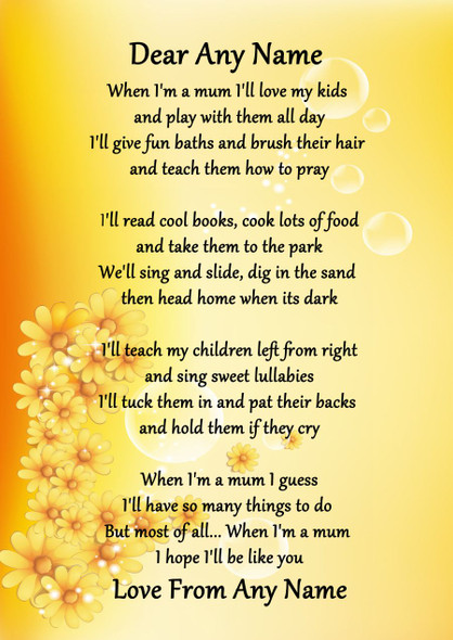 Yellow Floral When I'M A Mum Personalised Poem Certificate