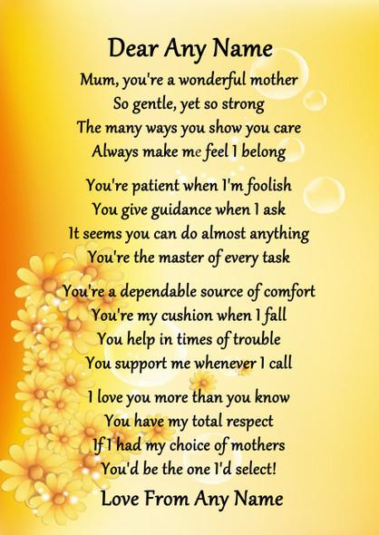 Yellow Floral Wonderful Mother Personalised Poem Certificate