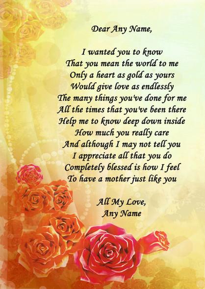 Yellow Orange Mum Personalised Poem Certificate