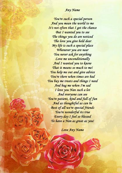 Yellow Orange Nan Personalised Poem Certificate