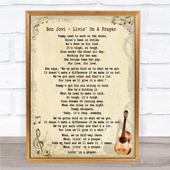 Bon Jovi Livin' On A Prayer Song Lyric Quote Print