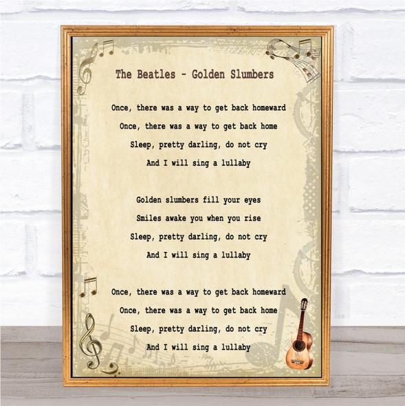 The Beatles Golden Slumbers Song Lyric Quote Print