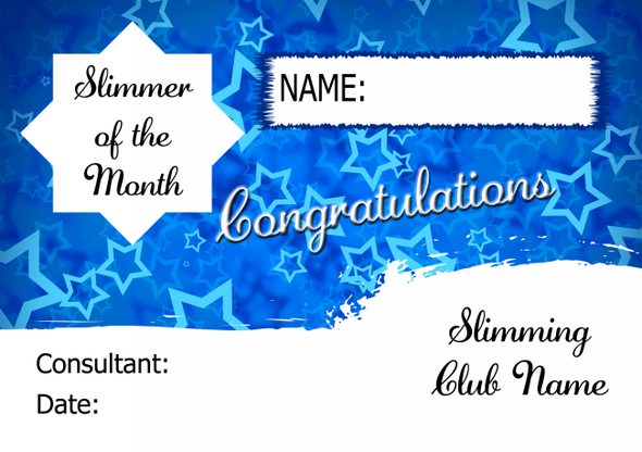 Blue Horizon Slimmer Of The Week Personalised Diet Certificate
