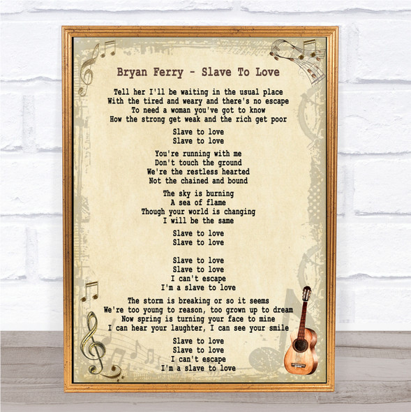 Bryan Ferry Slave To Love Song Lyric Quote Print